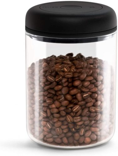 Fellow Atmos Vacuum Canister for Coffee & Food Storage, Clear Glass, Large, 1.2 Liter, Integrated Vacuum Pump, Airtight Seal