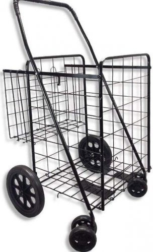 MOD Complete MDC77037 JUMBO Portable Double Basket Heavy-Duty Folding Shopping Cart w/Front Swivel Wheels - Fits in Trunk OR Back Seat - Never Make Two Grocery Trips Again - 300 LB WEIGHT CAPACITY!