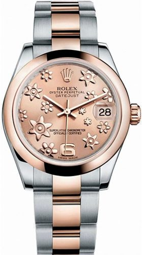 Rolex Datejust Lady 31 Pink Raised Floral Motif Dial Stainless Steel