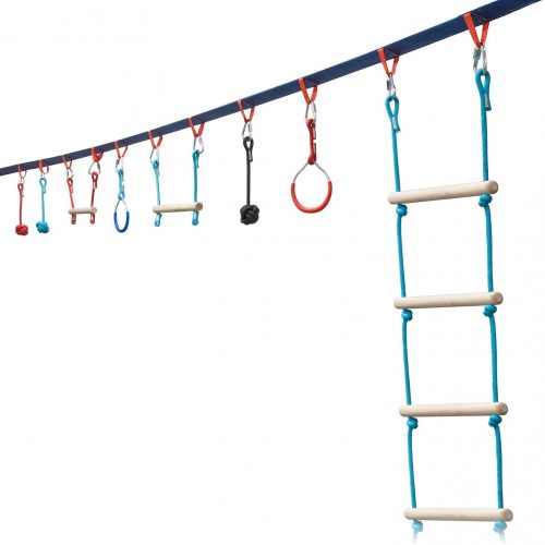 Portable 50 Foot Ninja Slackline Monkey Bar & Ladder Kit