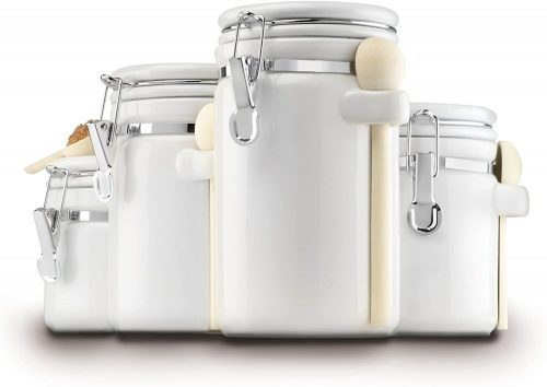 Anchor Hocking Ceramic Canister Set with Clamped Lid and Wooden Spoon, White, Mixed Sizes, Set of 4