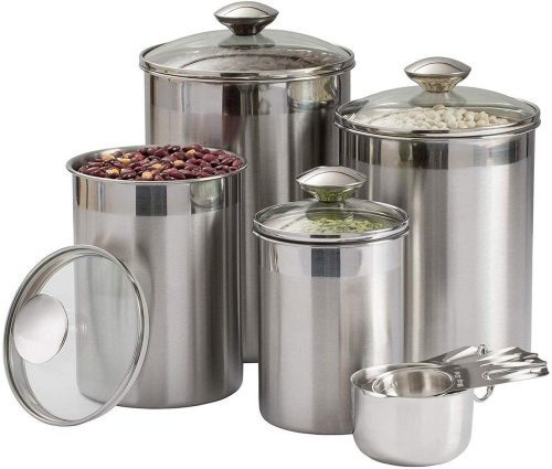 Beautiful Canisters Sets for the Kitchen Counter, 8-Piece Stainless Steel, Medium Sized with Glass Lids and Measuring Cups - SilverOnyx Tea Coffee Sugar...