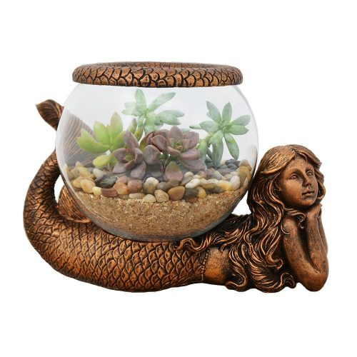 Gold Antiqued Mystical Mermaid Glass Fish Bowl by THE NIFTY NOOK