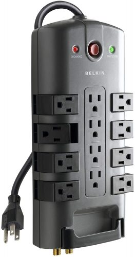 Belkin 12-Outlet Pivot-Plug Power Strip Surge Protector w/ 8ft Cord – Ideal for Computers, Home Theatre, Appliances, Office Equipment and more (4,320 Joules) by Belkin