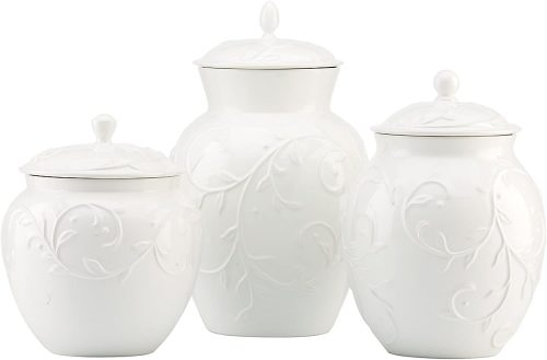 Lenox Opal Innocence Carved 3-piece Canister Set, 6.0 LB, White