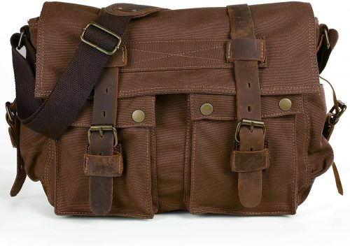 Leather Messenger Bag by Peacechaos