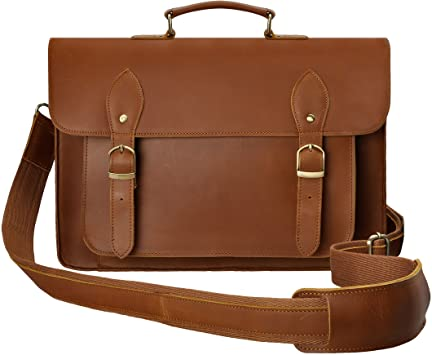 Leather Messenger Bag by ZLYC