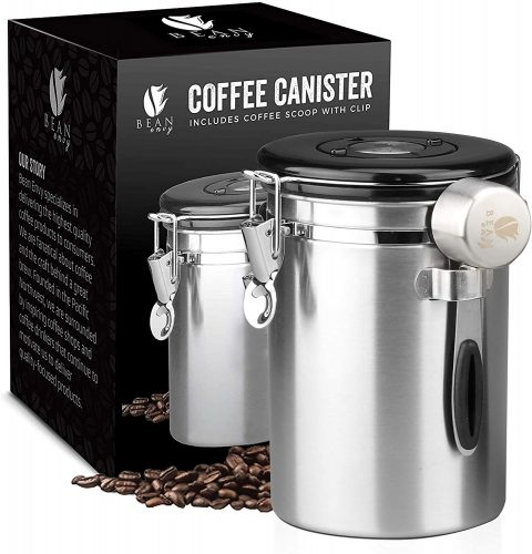 Bean Envy Airtight Coffee Canister - LARGE 22.5 oz - Includes Stainless Steel Scoop & Integrated Silicone Base - Sealed Cantilever Lid - Co2 Gas Release...