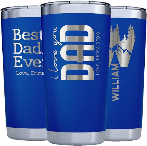 Dad Gift From Daughter, Son to Father - Personalized Tumblers w/Splash Proof Lid - 20oz - Vacuum Insulated Travel Coffee Mugs - Stainless Steel Double Wall - Personalized Cups - Gifts for Men w Name