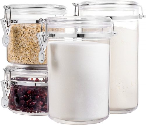 Bellemain 4 Piece Airtight Acrylic Canister Set, Food Storage Container