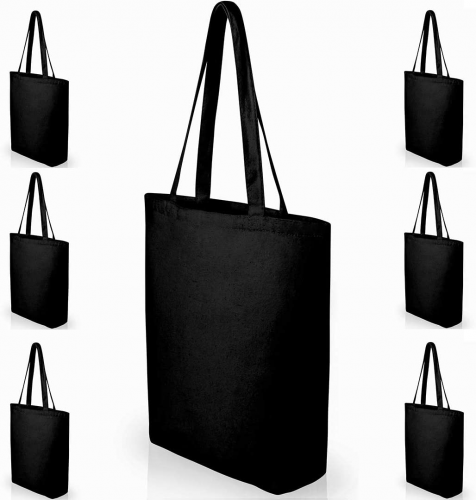Heavy Duty Large Black Canvas - Reusable Grocery Bags