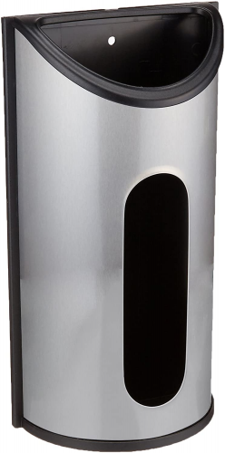 Greenco Wall Mount Bag Saver, Holder, and Dispenser, Brushed Stainless Steel Storage Solution with an Extra Wide Opening for Easy Access to Your Bags
