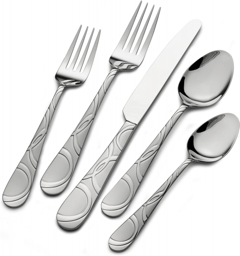 Pfaltzgraff 5163889 Garland Frost 53-Piece Stainless Steel Flatware Set with Serving Utensil Set and Steak Knives, Service for 8