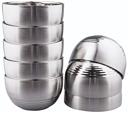 IMEEA 8-Piece Double-deck Light Weight Brushed SUS304 Stainless Steel BPA Free Serving Bowls, 12oz