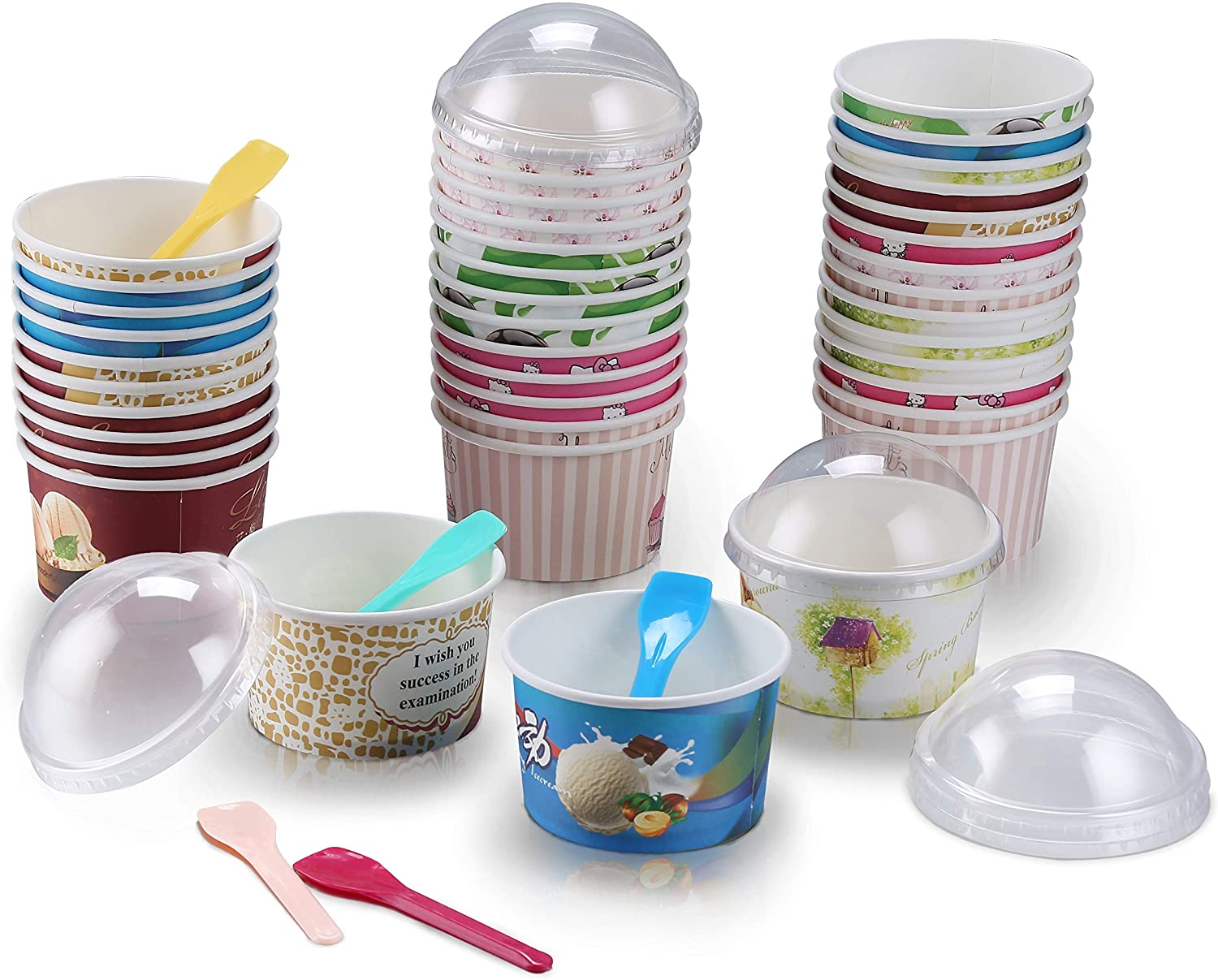 Ice Cream Cups, Cup Lids & Spoon Set (100 Counts Each) - Sundae Bowls 12 oz Unique Design - Leak-Free Disposable Icecream Paper Bowl Cup & Accessories for Any Occasion (Eco-Friendly)