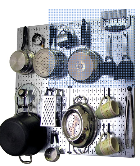 Wall Control Kitchen Pegboard Organizer Pots and Pans Pegboard Pack Storage and Organization Kit with Metallic Silver Pegboard and Black Accessories