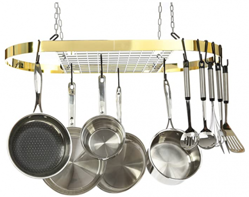 Kinetic Pot and Pan Rack with Ceiling Hooks - Premium Oval Mounted Oragnizer Rack with Multi Purpose Kitchen Organization and Storage for Home, Restaurant, Cookware, Utensils (Hanging Gold)