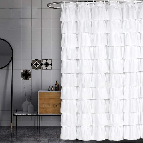 Volens White Curtain Ruffle for Bathroom