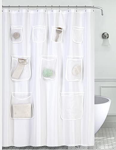 Mrs. Awesome Water-Repellent Fabric Shower Curtain or Liner with 9 Handy Mesh Pockets White