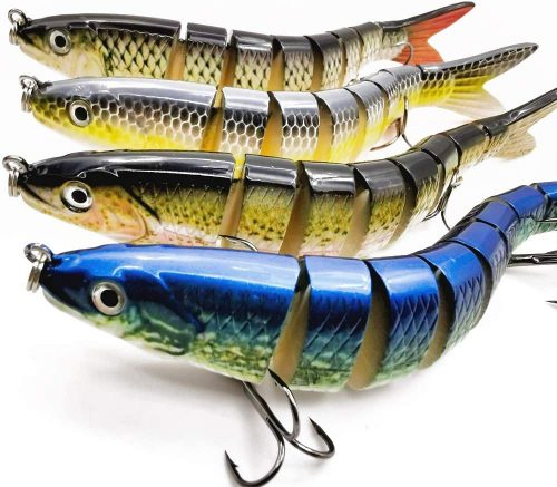 Motoeye Saltwater Fishing Lures Set for Bass & Trout, Lifelike Multi Jointed 3D