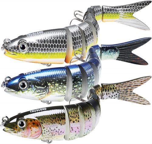 TRUSCEND Fishing Lures for Bass 4.9 Inches, Multi Jointed Swimbaits, Tackle Kits Lifelike