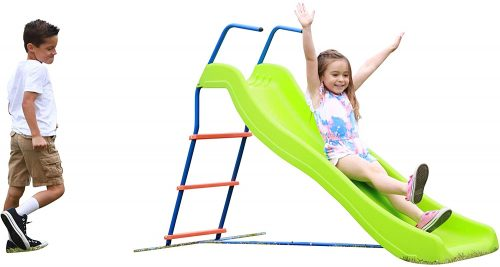 Kids 6ft Outdoor Playground Slide: Freestanding Play Equipment Playset for Children