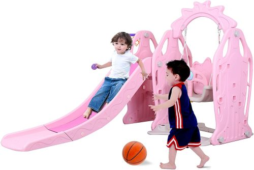 Genivation Indoor Climber and Swing Slide Set Indoor Swing Set Combination Swing Set with Slide Basketball (Light Pink)