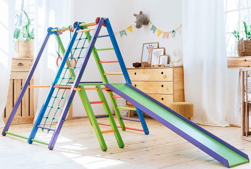 EZPlay Indoor Jungle Gym – Sturdy Toddler Playset, Foldable Kids Play Area with Monkey Bars