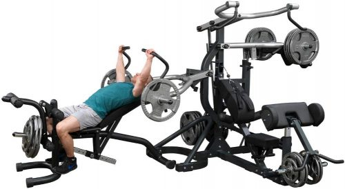 Body-Solid SBL460P4 Free-Weight Leverage Gym with Squat Attachment and Olympic Leverage Flat Incline Decline Bench