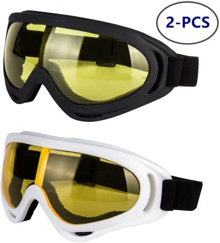 LJDJ Motorcycle Goggles, Anti-UV, Adjustable- Dirt Bike ATV Motocross