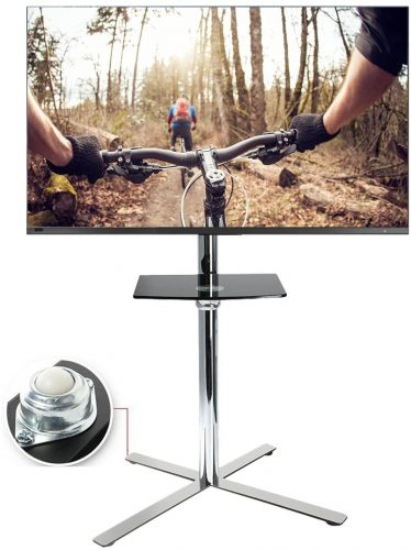 FLEXIMOUNTS C02 Stainless Mobile TV Cart LCD Stand