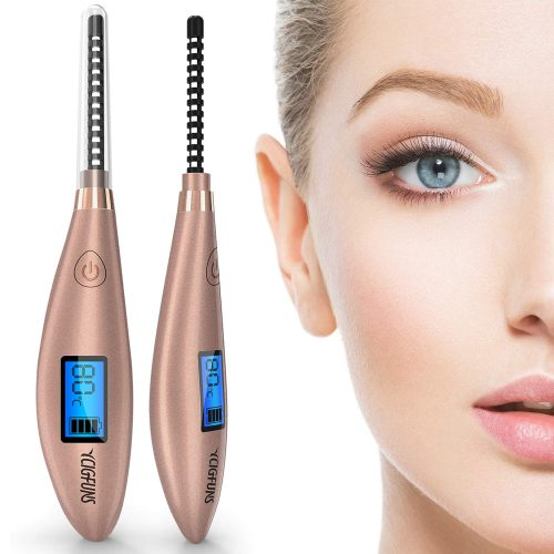 Heated Eyelash Curler, YCIGFUNS Ceramic Electric Eyelash Curler, USB Rechargeable Eyelash Curler with LCD Display for Eyelashes Natural Curling and 24 Hours...