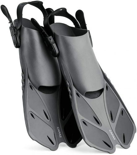 CAPAS Snorkel Fins, Travel Size & Short Adjustable for Snorkeling