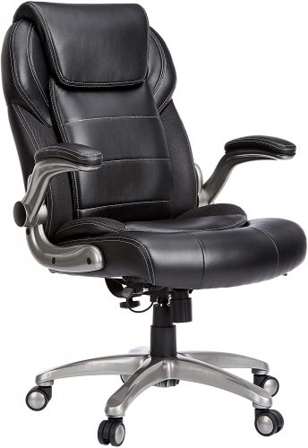 AmazonCommercial Ergonomic High-Back Bonded Leather Executive Chair with Flip-Up Arms and Lumbar Support