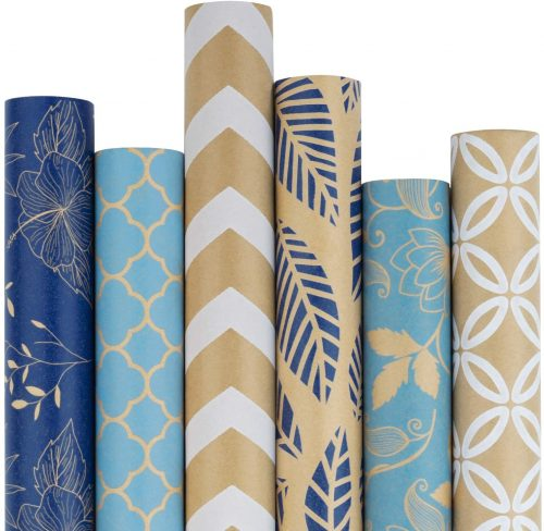 Kraft Blue and Cream Wrapping Paper Set